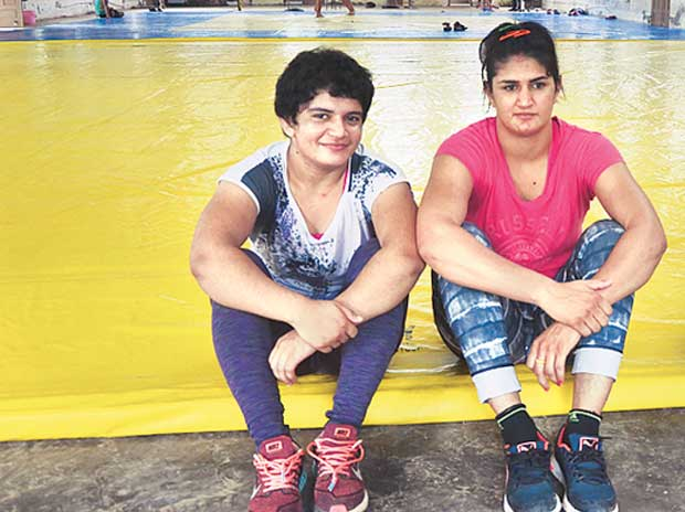 Ritu Malik (left) and Rina Saran at Chhotu Ram Stadium Wrestling Academy in Rohtak