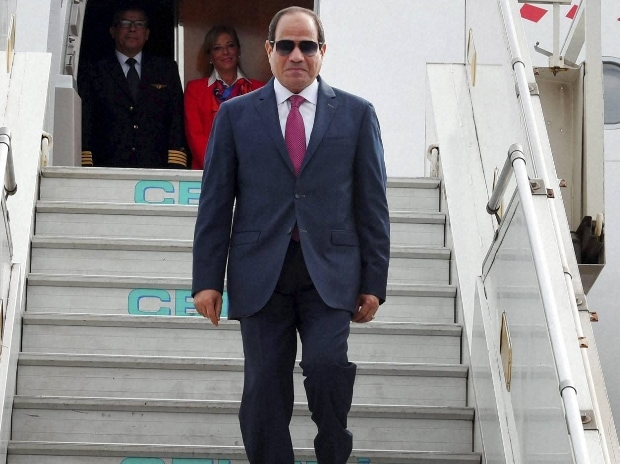 President of Egypt, Abdel Fattah el-Sisi, on his arrival at AFS Palam in New Delhi