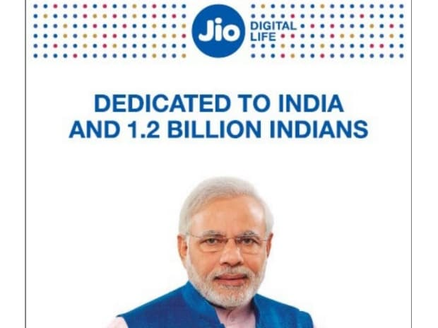 Multiple newspapers carried his photograph along with Reliance Jio logo across India