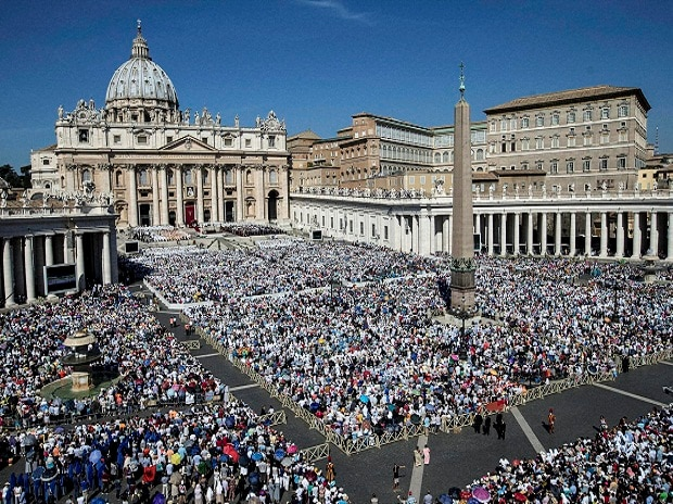 St. Peter's Square is crowded with faithful attending a Canonization Mass by Pope Francis for Mother Teresa, at the Vatican. Francis has declared Mother Teresa a saint, honoring the tiny nun who cared for the world's most destitute.