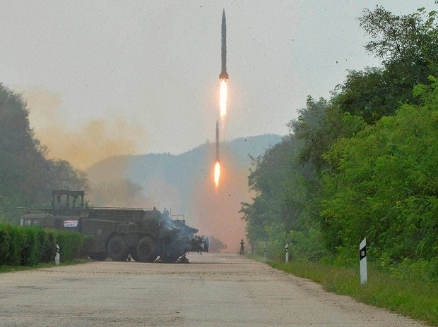 This undated photo distributed on Sept 6, 2016, by the North Korean govt, shows ballistic missiles launched during a drill at an undisclosed location in North Korea.