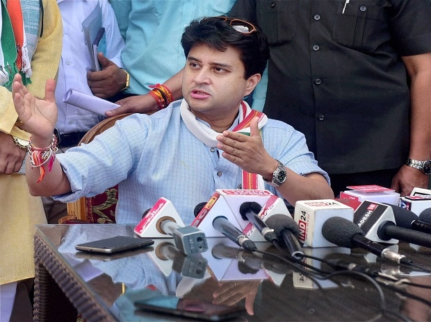 Former Union Minister and Congress MP Jyotiraditya Scindia addressing a press conference during his visit to Bhopal