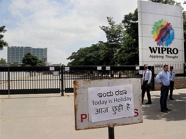 The main office of Wipro remains closed during a ...