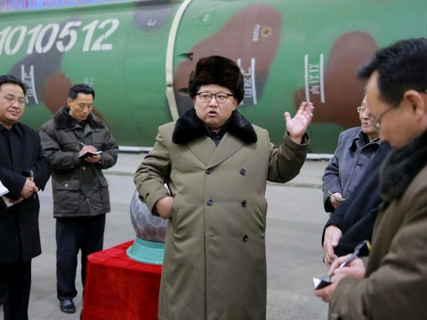 North Korean leader Kim Jong Un meets scientists and technicians in the field of research into nuclear weapons.