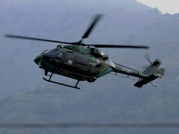 An Army chopper at surveillance during a terror attack at the Army Brigade camp in Uri, Jammu and Kashmir.