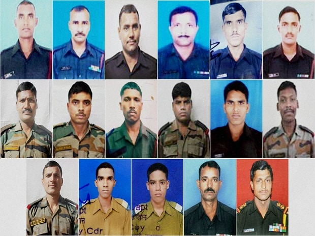 Seventeen Indian Army soldiers who were martyred during a terrorist attack at Uri, Jammu and Kashmir. Photo: PTI