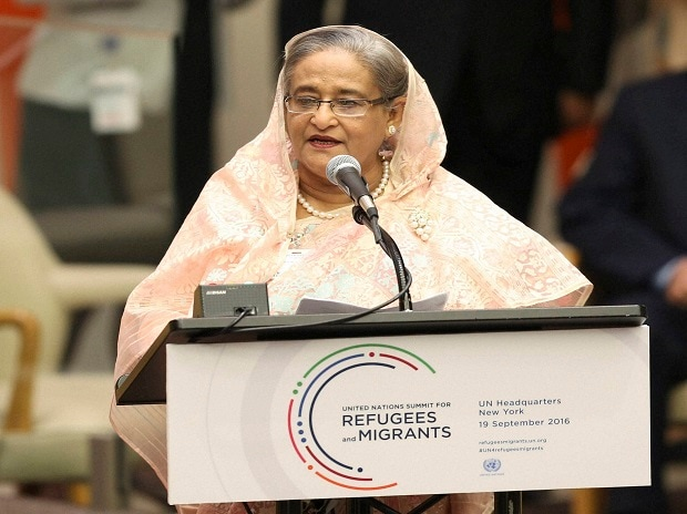 Sheikh Hasina, prime minister of Bangladesh, speaks during the Summit for Refugees and Migrants at UN headquarters. AP|PTI