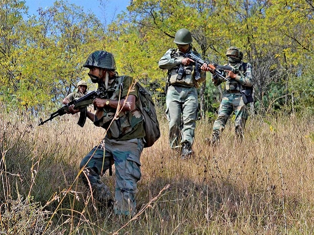 Army personnel take positions