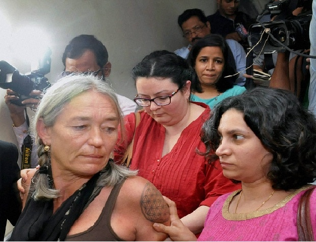 Goa: An upset Fiona Mackeown, the mother of British school girl Scarlett Keeling, after the verdict in her daughter's rape and death case, in Goa on Friday.