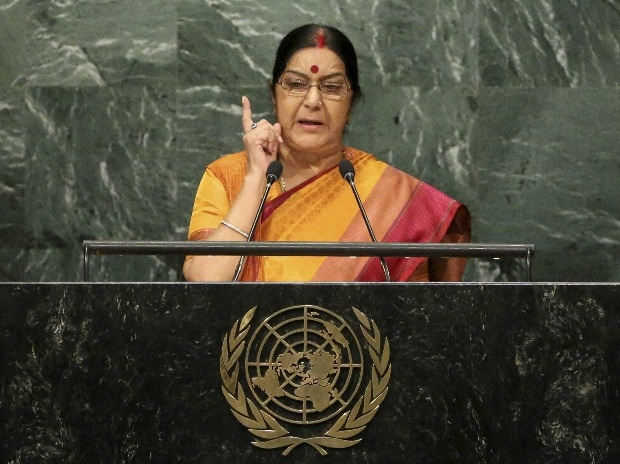 Minister of External Affairs Sushma Swaraj speaks during the 71st session of the United Nations General Assembly at UN Headquarters.