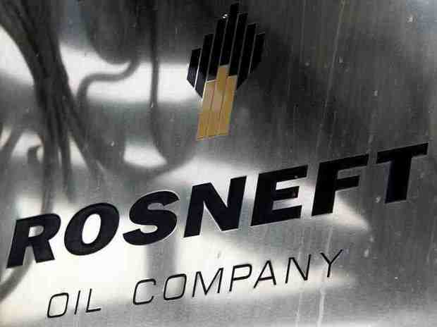A logo of Russian state oil firm Rosneft is seen ...