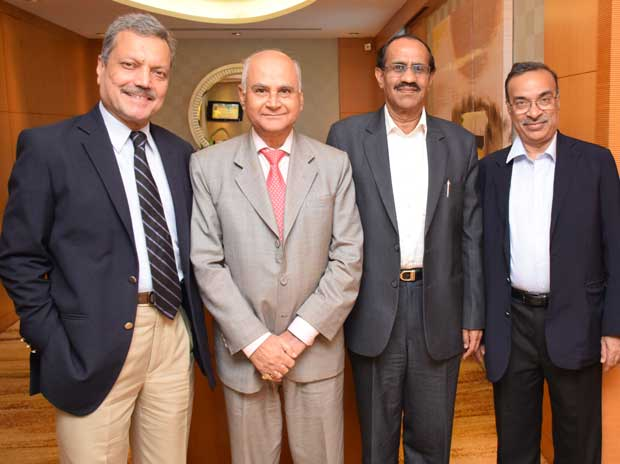 (From left) IndAsia Fund Advisors chairman Pradip Shah,  former Sebi chairman G N Bajpai, Centrum Capital director K R Kamath and IL&FS director & group chief investment officer Vibhav Kapoor (Photo: Kamlesh Pednekar)