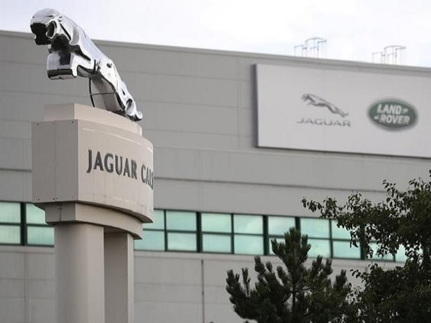 Signs are seen outside the Jaguar Land Rover plant at Halewood in Liverpool, northern England. Photo:Reuters