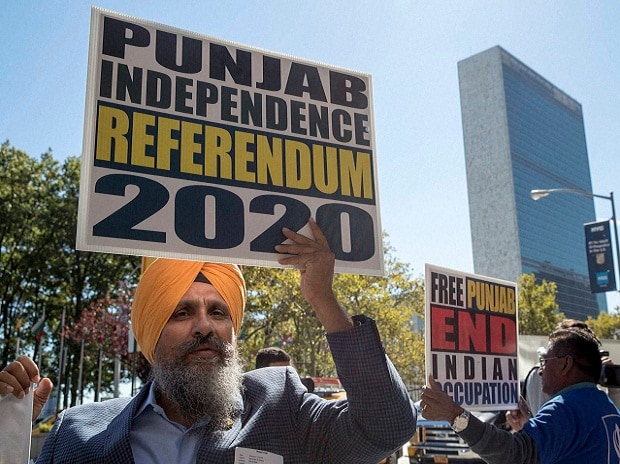 File photo. Protesters stand outside the United Nations during a demonstration to demand U.N. intervention against the recent ongoing Indian military build-up in Punjab. Photo: AP | PTI