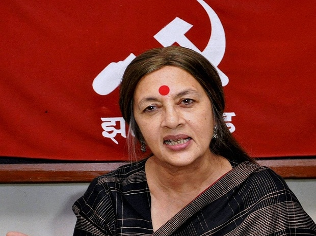 CPI (M) politbureau member Brinda Karat addresses a press conference in Ranchi.Photo: PTI
