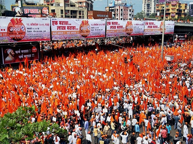Maratha Community people participate in a