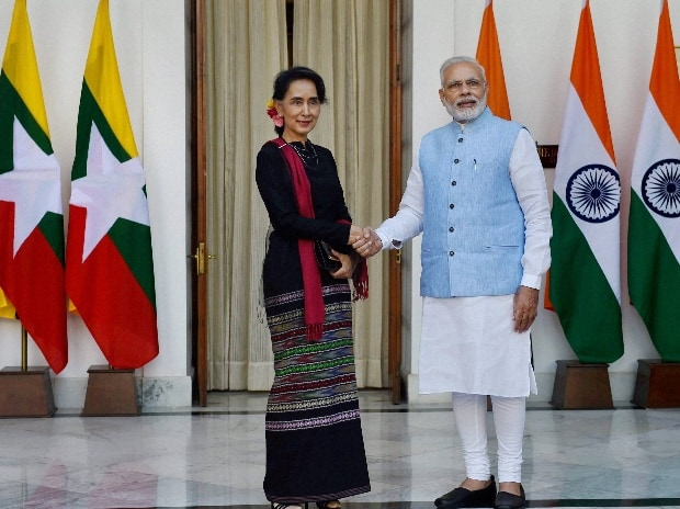 File photo of Prime Minister Narendra Modi  shaking hands with Myanmar State Counsellor and Foreign Minister Aung San Suu Kyi
