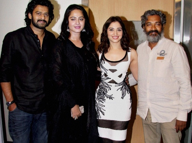 (Left to Right) Bollywood actors Prabhas, Anushka Shetty and Tamannaah Bhatia with filmmaker S S Rajamouli during a discussion on their latest movie Baahubali at the 18th Mumbai Film Festival with Star in Mumbai