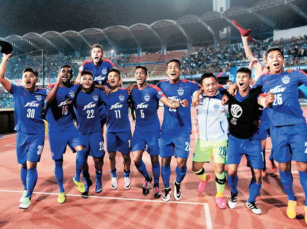 Bengaluru FC players celebrate after beating Johor Darul Ta'zim FC to reach the AFC Cup final