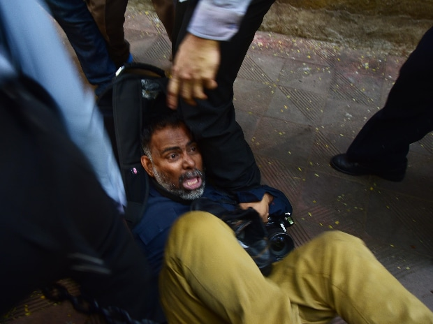 Scenes from Bombay House on Friday during Tata security staff, media scuffle in Mumbai