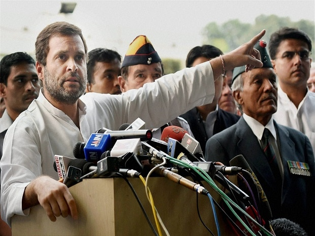 Congress Vice President Rahul Gandhi  addressing the media after a meeting with several ex-servicemen at party headquarters in New Delhi