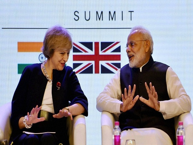 Prime Minister Narendra Modi with his UK counterpart Theresa May