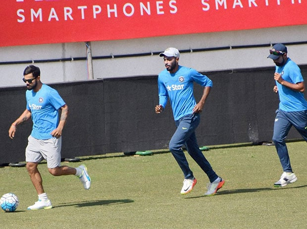 Ahead of the first Test match against England, Indian players practice at Rajkot. (Photo: PTI)