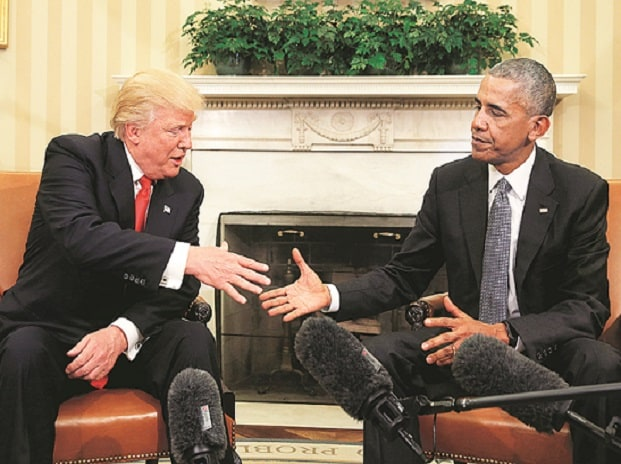 US President Barack Obama (right) and President-elect Donald Trump on Thursday discussed a range of domestic and foreign policy issues at the White House during their first meeting in the Oval Office since Trump's stunning election victory. Photo: Re
