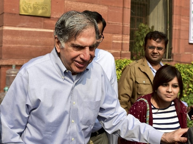 Tata Sons Chairman Ratan Tata leaves after meeting Finance Minister Arun Jaitley in New Delhi in New Delhi