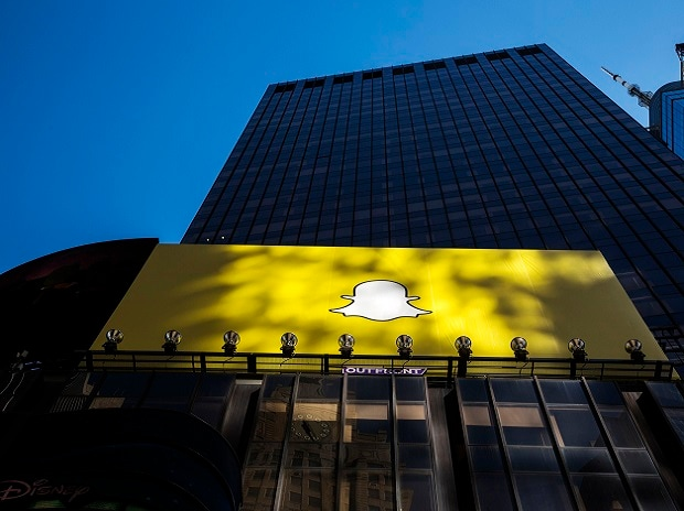 A billboard displays the logo of Snapchat above Times Square in New York.Photo: Reuters