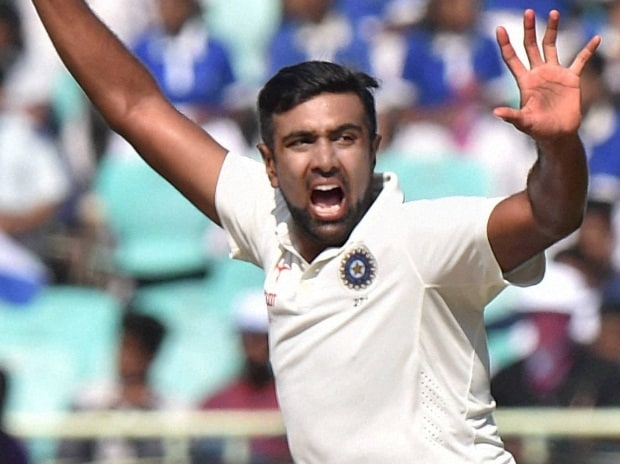 Indian bowler Ravichandran Ashwin celebrates during the 3rd day of 2nd Test Cricket match in Visakhapatnam.