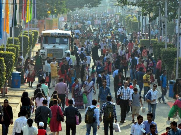 File Photo: The crowd on Saturday at the India International Trade Fair at pragati maidan, New Delhi. Photo: Sanjay K Sharma