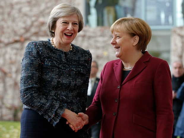 UK Prime Minister Theresa May (left) with German Chancellor Angela Merkel in Berlin (Reuters)