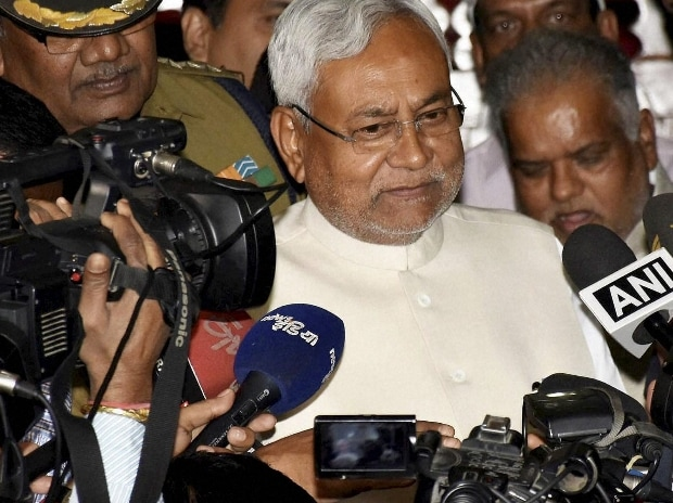 Bihar Chief Minister Nitish Kumar talks to media after all parties meeting on liquor prohibition at Vidhan Sabha, in Patna