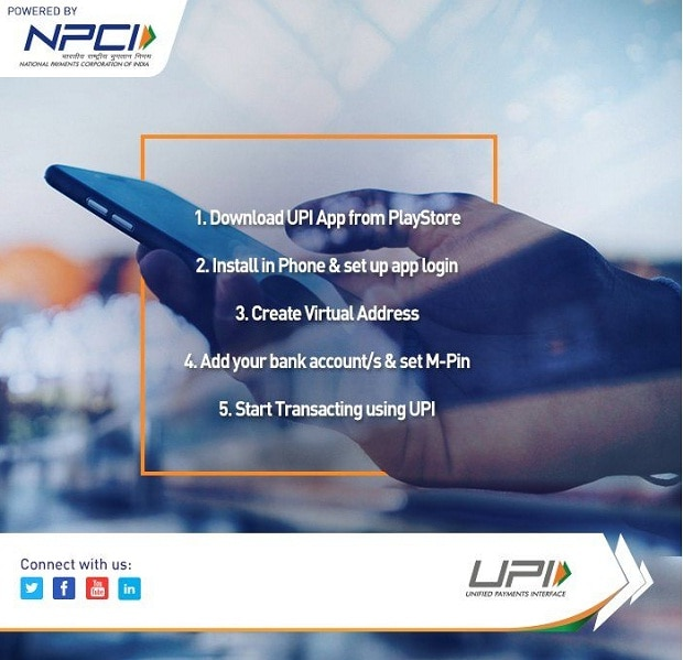 UPI mobile payments platform for cash transfer