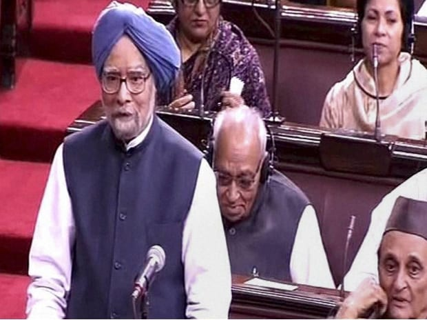 Former PM Manmohan Singh speaks in the Rajya Sabha in New Delhi (Photo: PTI)