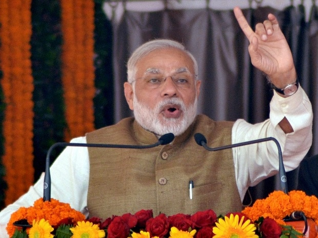 Prime Minister Narendra Modi addressing BJP's Parivartan Rally in Kushinagar in Uttar Pradesh. Photo: PTI