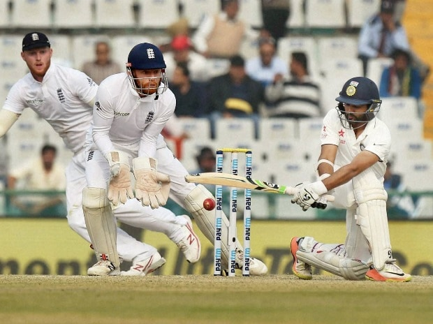Parthiv Patel plays a shot on the fourth day of the third Test match between India and England in Mohali on Tuesday (Photo: PTI)