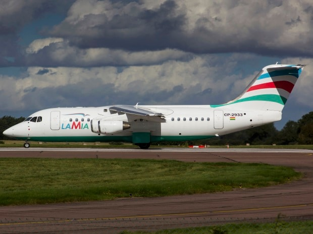 An Avro RJ85 operated by Lamia which crashed on approach to Medellin while carrying 81 passengers and crew including Brazilian football team Chapecoense is seen in a file picture taken in Norwich, Britain. Photo: REUTERS/Matt Varley