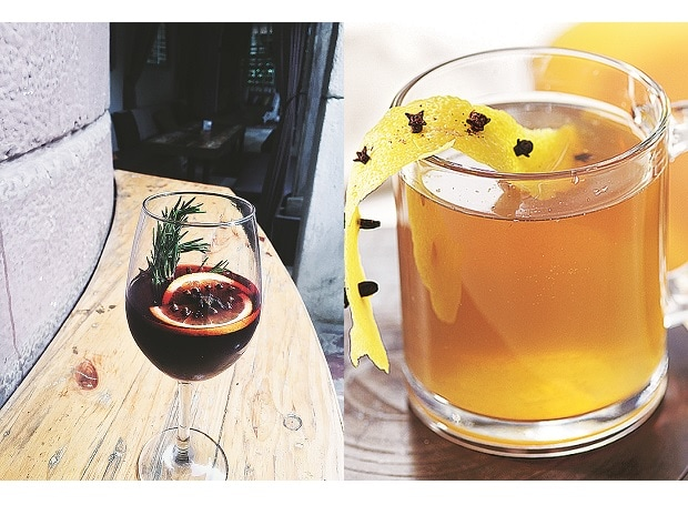 Red mulled wine (Left) & Spiced apple toddy