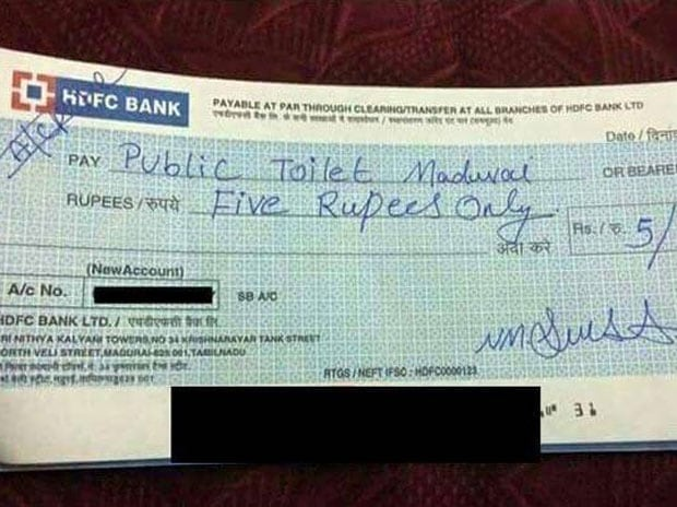 Cashless India At Its Best Man Pays Rs 5 Cheque For Using