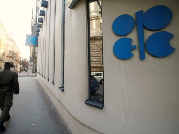 A soldier patrols in front of the Opec headquarters in Vienna