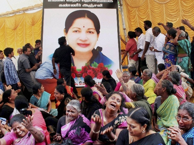 AIADMK members pay tribute, and grieve the loss of J Jayalalithaa. (File Photo)