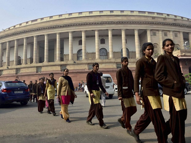 School girls visiting Parliament House in New Delhi. Photo: PTI