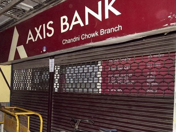 Axis Bank branch closed during a raid by Income Tax officials in the Chandni Chowk in New Delhi
