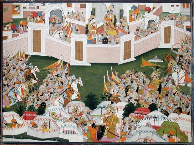 Krishna with his army within a walled city (Harivamsha); painted by Purkhu; creation date: circa 1810