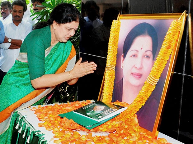 VK Sasikala Natarajan pays tribute to late J Jayalalithaa after she was appointed as AIADMK General Secretary through a resolution passed by the party's General Council, at Poes Garden in Chennai. Photo: PTI