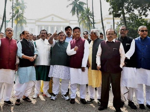 TMC leaders protest in New Delhi. Photo: PTI