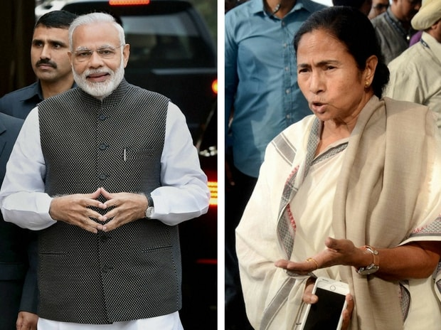 Prime Minister Narendra Modi and West Bengal Chief Minister Mamata Banerjee. Photo: PTI