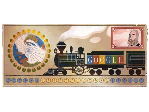 Google pays tribute to Sanford Fleming by a Doodle.
